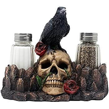 Bone Chilling Raven On Human Skull Salt And Pepper Shaker Set With  Decorative Display Stand Figurine