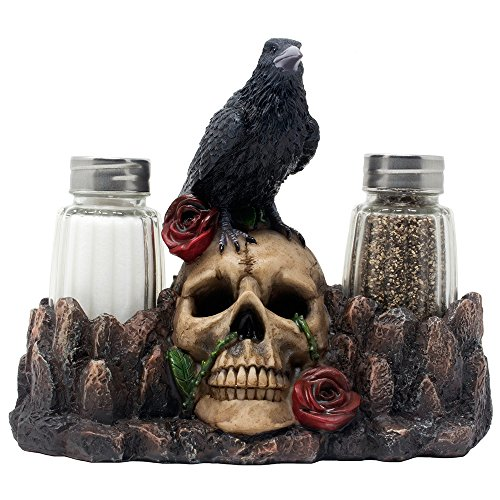 Bone Chilling Raven on Human Skull Salt and Pepper Shaker Set with Decorative Display Stand Figurine for Scary Halloween Decorations or Medieval & Gothic Kitchen Table Decor As Spooky Fantasy Gifts