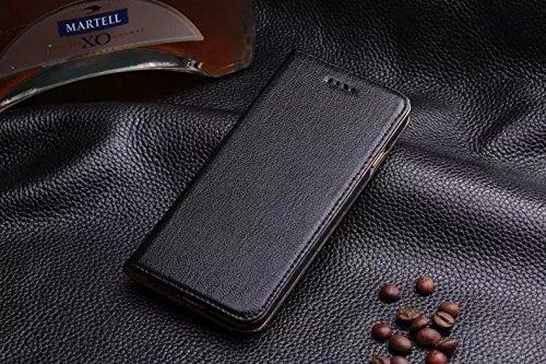 JIALUN-carcasa de telefono Para iPhone 6 y 6s, con ranura para tarjeta Litchi Skin Texture Cubierta de la caja del soporte de cuero genuino de primera calidad ( Color : Purple ) Black
