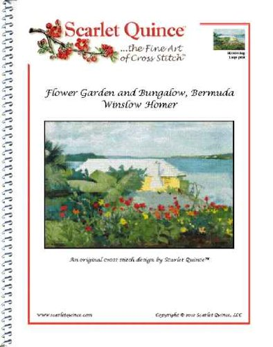 Scarlet Quince HOM002alg Flower Garden and Bungalow, Bermuda by Winslow Homer Counted Cross Stitch Chart, Large Size Symbols (Chart Cross Stitch Garden)