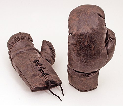Vintage Boxing Memorabilia - Vintage Brown Leather-Look PU Boxing Gloves