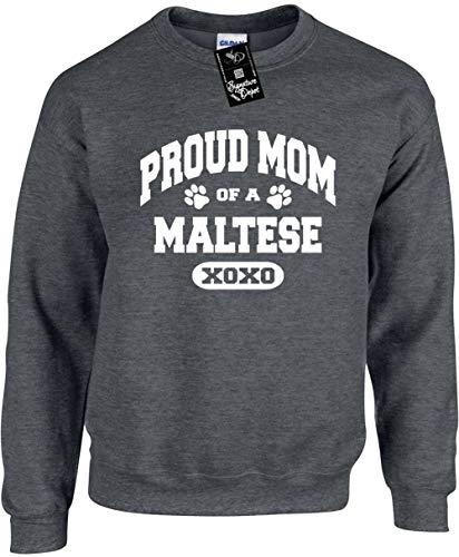 Signature Depot Unisex Funny Crewneck Sz L (Proud Mom of a Maltese (Dog) Sweatshirt