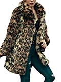Women's Leopard Sexy Faux Fur Jacket Coat Long Sleeve Winter Warm Fluffy Parka Overcoat Outwear Tops (US 6 = Asian L)