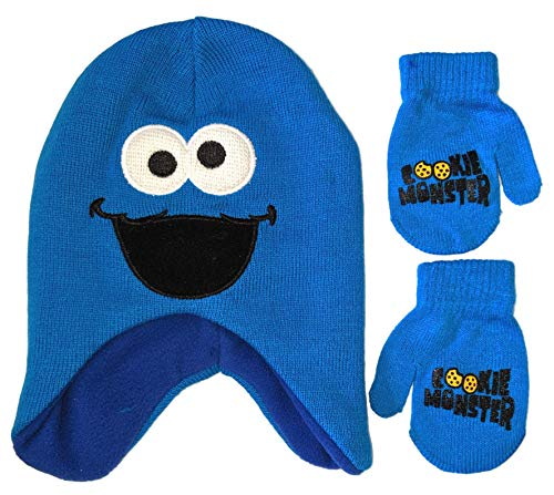 Sesame Street Cookie Monster Big Face Beanie Winter Hat and Mittens Cold Weather Set, Age 2-4 (Cookie Monster Winter Hat)