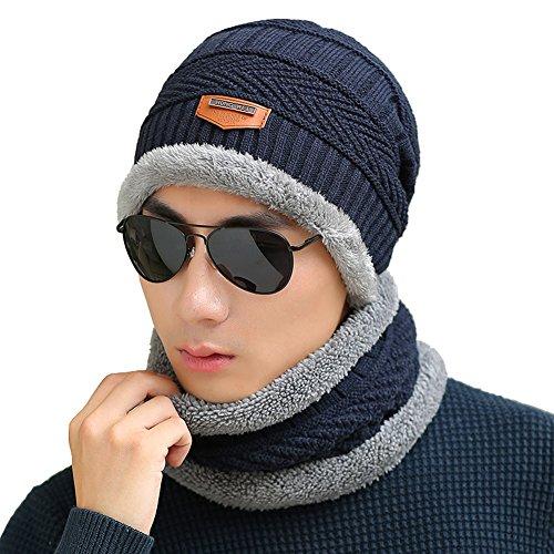 azul Invierno de Grueso Punto Slouchy Gorros Caliente Set Hombres de Bufanda Alineado oscuro Suave Sombrero Gorro WqwAnE60P