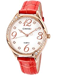 Comtex Women's Watches Red Leather Strap with Rose Gold Case Fashion Watches for Ladies