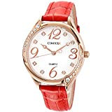 Comtex Women's Metal Casual Large Dail Big Number Quartz Analog Wrist Watch with Red Leather Band