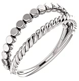Twin Stackable Ring, Sterling Silver, Size 4.25