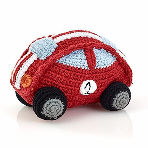 Pebble | Handmade Race Car Baby Rattle - Red | Fair Trade | Imaginative Play | Pretend | Transportation | Machine Washable