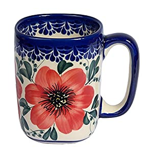 Traditional Polish Pottery, Handcrafted Ceramic Tall Square Mug (275ml / 9.7 fl oz), Boleslawiec Style Pattern, Q.401.MALLOW