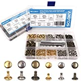 Seloky 210 Set 2 Sizes Leather Rivets Double Cap Rivet Tubular Metal Studs with 3 Fixing Tool Kit for Leather Craft Repairing Decoration,2 Sizes and 3 Colors (Gold, Silver and Bronze)