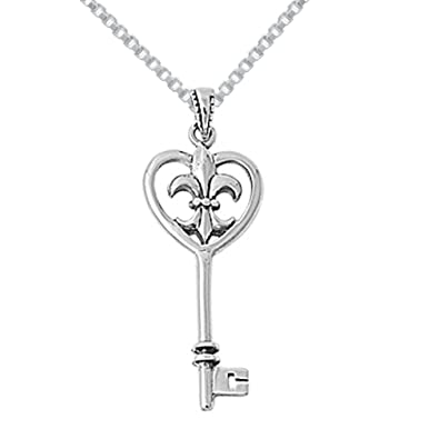 Amazon sterling silver fleur de lis key pendant necklace 16in amazon sterling silver fleur de lis key pendant necklace 16in jewelry aloadofball Images