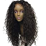 ALYSSA Hair Big Curly Human Hair Full Lace Wigs Curls Wave Pre-Plucked Wig Bleached Knots For Women 20inch Natural Black