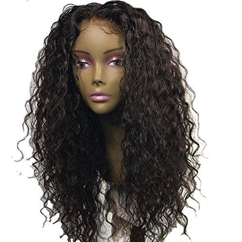 ALYSSA Virgin Short Deep Curly Wig Center Parting Brazilian Human Hair Remy Lace Front Wigs With Baby Hairs For Black Women 12inch Natural Black ()