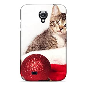 Bivillegas Case Cover Protector Specially Made For Galaxy S4 Cat Santa Claus Hat
