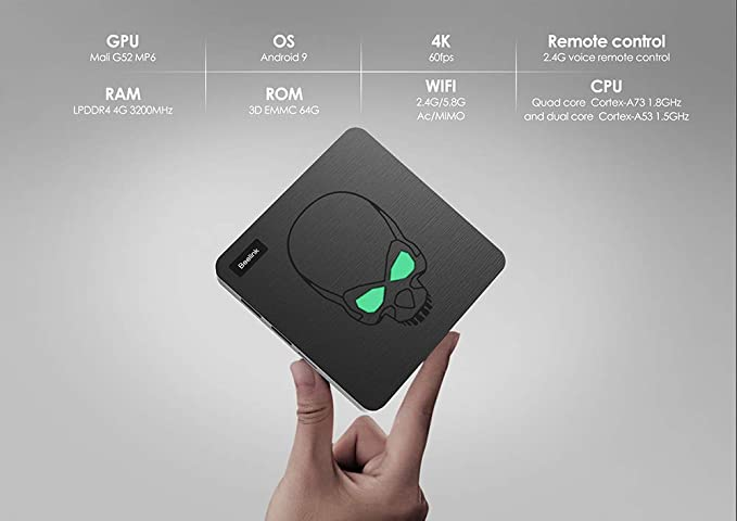 TV Box, HSYPC Android 9.0 Beelink GT King TV Box, 4 GB/64 GB Amlogic S922X 6 Core Control Remoto de Voz 4K UHD USB3.0 HDMI 2.1 HDCP 2.2 SPDIF AV Interfaz con