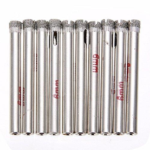 KINWAT 10Pcs Diamond Holesaw 6mm Drill Bits Tool Set for Tile Glass Slate Porcelain Marble Cutting ()