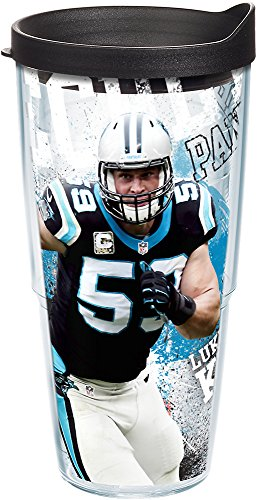 Tervis 1235265 NFL Carolina Panthers Luke Kuechly Tumbler with Wrap and Black Lid 24oz, Clear