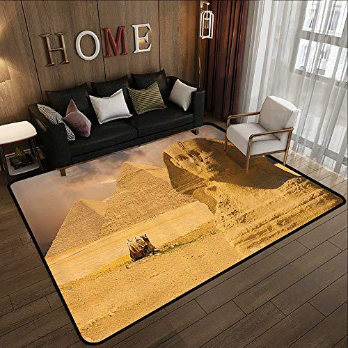 Rugs for Sale,Egyptian Decor,The Great Sphinx Face with Other Pyramids in Egypt Old Historical Monument,Amber Sand Brown 47
