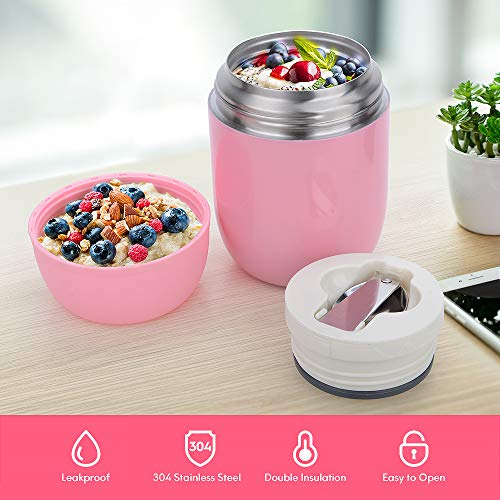 Insulated Container for Hot Food - Wide Mouth Hot Containers for Lunch Thermoses Nomeca 16Oz Stainless Steel Vacuum Insulated Food Jar Soup Thermoses With Spoon for Kid Adult School Office Work, Pink