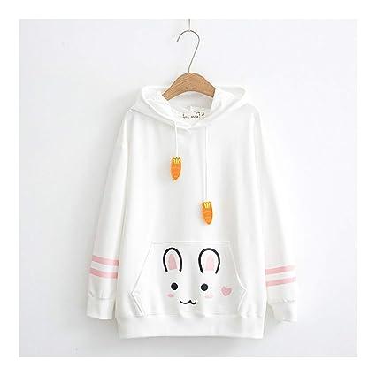 SWEAAY Moda para Mujer Otoño Harajuku Kawaii Zanahoria Conejo Sudaderas con Capucha Dulce Conejito Parche Encaje