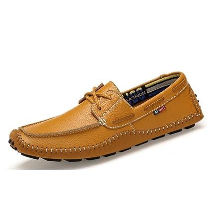 FuweiEncore Calzado de conducción para Hombres Zapatos de Cuero de otoño/Primavera, Zapatos con