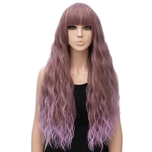 Netgo Women's Wig Long Fluffy Curly Wavy Hair Wigs for Girl Synthetic Party Wigs Brown Mixed Pink