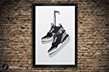 Air Jordan 3 'Black Cement', 'White Cement', 'True Blue', 'Fire Red' Illustration, Vintage Hanging Kicks - Sneaker Wall Art - 11' x 14', 12' x 18', 13' x 19', 18' x 24', 24' x 36'