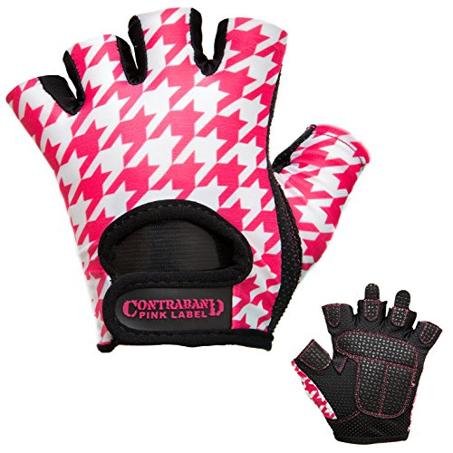 Contraband Pink Label 5257 Womens Design Series Houndstooth Print Lifting Gloves (Pair) - Lightweight Vegan Medium Padded Microfiber Amara Leather w/Griplock Silicone (Pink/White, Medium)