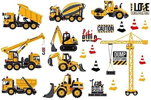 DIY Cartoon Construction Site Trucks Removable Wall Sticker Kids Room Decoration