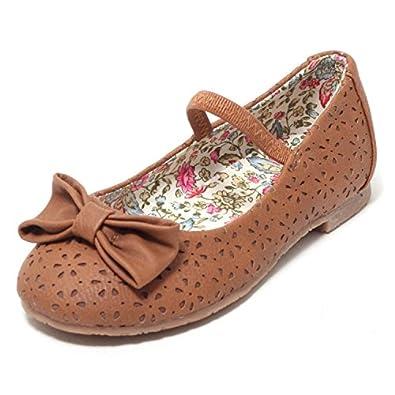 Mädchen Ballerinas Sommerschuhe Slipper Sandalen Flats Flache Schuhe Pumps  Kleinkinder Kinderschuhe mit Elastikband und Blumen Natur 6cc7b65d9a