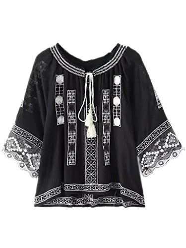 Joeoy Women's Bohemian Embroidered 3/4 Sleeve Peasant Blouse Shirt Black-L (Black Embroidered Blouse)