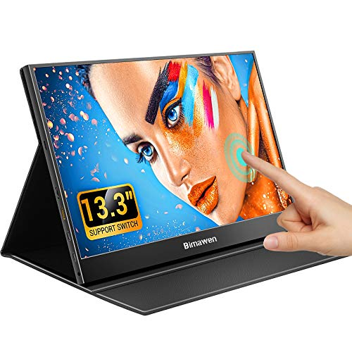 """Bimawen 13.3"""" Touchscreen Portable Monitor,Ultra-Thin 1080p HDR Monitor,Compatible with Xbox,Switch,PC,Laptop,FHD 1920x1080 IPS Screen"""