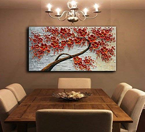 YaSheng Art - Hand-Painted Oil Painting On Canvas Texture Palette Knife Red Flowers Paintings Modern Home Decor Wall Art Painting Colorful 3D Flowers Tree Paintings Ready to Hang 24x48inch