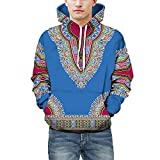 Lovers Hoodies TUDUZ New Unisex Autumn Winter African Ethnic Style 3D Print Long Sleeve Dashiki Hooded Sweatshirt Party Casual Pullover Top(Blue,UK(Bust)-52/CN-3XL)
