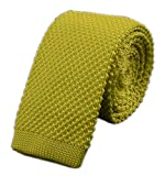 Men Casual Solid Lemon Yellow Woven Neck Tie Knit Party Wedding Prom New Necktie