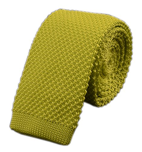 Men Casual Solid Lemon Yellow Woven Neck Tie Knit Party Wedding Prom New (Rep Stripe Necktie)