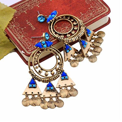 ptk12 Vintage Retro Style Coin Tassels Dangle Earring Beach Bohemian Ethnic Jewelry Belly Dance Accessory Charm Earrings by ptk12 (Image #3)