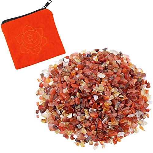 rockcloud 0.5 lb Small Tumbled Chips Crushed Stone with Chakra Bag Healing Reiki Crystal Home Decoration, Carnelian ()