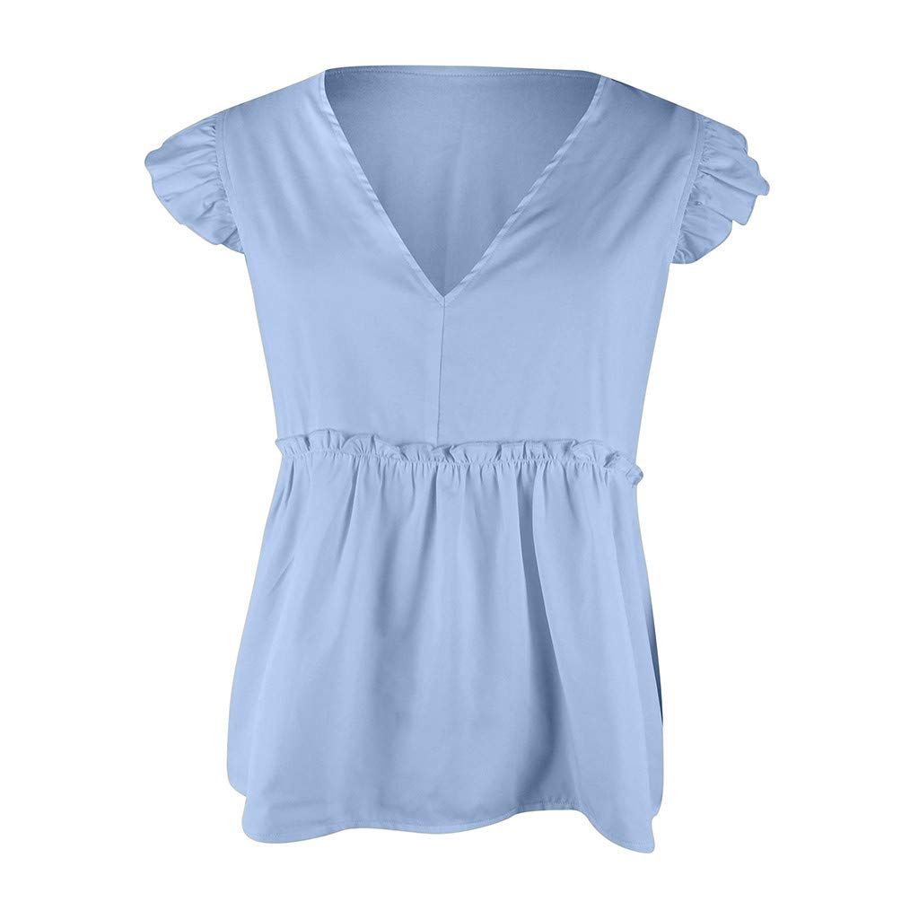 Sanyyanlsy Womens Button Bandage Bow Sleeveless Tank Tops Shirt Solid Color V-Neck Loose T-Shirt Blouse Casual Vest