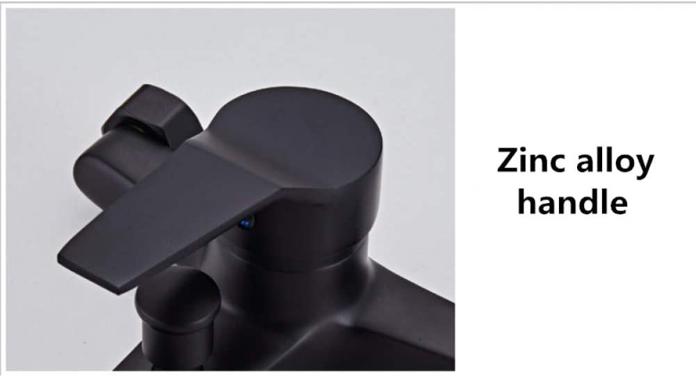 TYOLOMZ Ducha de grifo de ba/ñera negra de lat/ón de estilo europeo con juego de manguera Grifo de ba/ño V/álvula mezcladora de agua fr/ía y caliente Bibcock