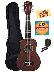 Lanikai LU-11 Soprano Ukulele Bundle with Gig Bag, Austin Bazaar Instructional DVD, Clip-On Tuner, and Polishing Cloth