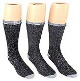6 Pairs Black Cotton Wool Socks Thermal Hiking