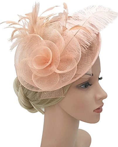 Z&X Sinamay Fascinator Headband Mesh Feather Flower Cocktail Pillbox Hat (Champagne Pink) - Pink And Champagne Wedding