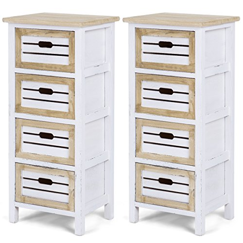 Giantex Wooden Chest Nightstand End Table Bedside Table Cabinet Side with 4 Drawer (2)