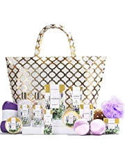 Spa Luxetique Lavender Spa Gift Baskets for Women, Luxurious 15pc Gift Baskets with Spa Tote Bag, Best Gift Sets for Women - Luxury Home Spa Gift Set with Hair Drying Towel, Body Scrub, Bath Bombs, Perfect Christmas & Birthday Gift Idea.