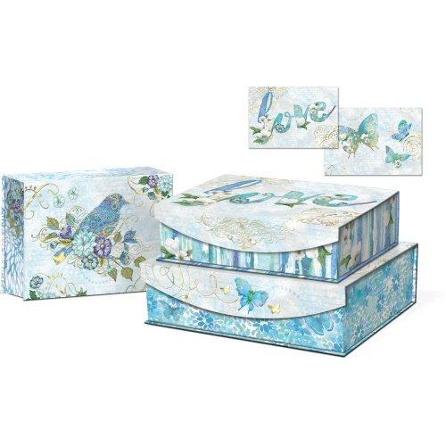 Punch Studio Large Rectangular Nesting Boxes With Flip Top Magnetic Flap Closure Set Of 3   Azure Sky