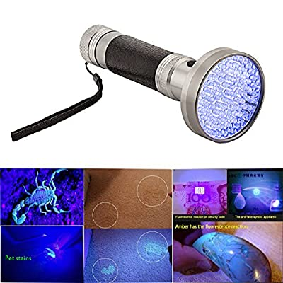 UV Blacklight Flashlight Torch, Handheld 160 Ultraviolet LED Flashlight Torch with 6 AA Batteries for Pets Urine and Stains Finder, Scorpion Hunting, Human Fluids,Passport, Counterfeit Detector etc.