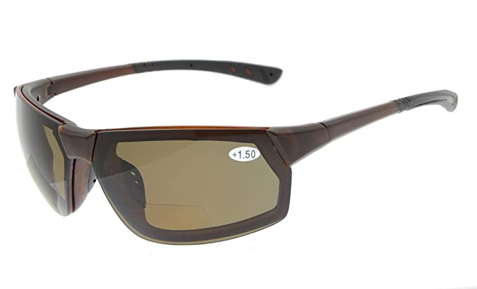 b23e610ab08 Sun Readers Polarized Bifocal Reading Sunglasses Tinted Glasses Mens  Wraparound Designer Style Sports UV 400 Protection Brown Frame Brown Lens  +2.0  ...