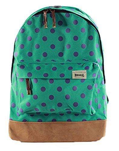 Lonsdale Women's Canvas Print Backpack Bag Rucksack Travel Gym School College A4 Teal/Polka Dot